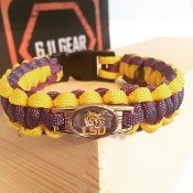 LSU Tigers Single Duty- Purple/Gold with Logo Paracord Bracelet