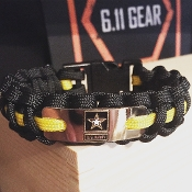 "US Army - ""Star"" Engraved plate black/yellow Paracord Bracelet"