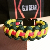 Vietnam Veterans Green/Yellow with Red stripe Paracord Bracelet