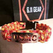 USMC - Laser Cut Marine Red/Orange 550 Paracord Bracele