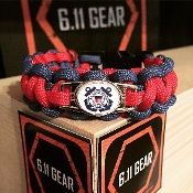 USCG Auxiliary Emblem Red/Royal Blue Paracord Bracelet