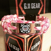 US Coast Guard -engraved Plate Pink Camo Paracord Bracelet