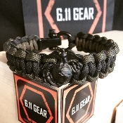 USMC-EGA Black/Dark Grey Paracord Bracelet