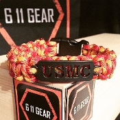 USMC - Black Laser Cut/ Marine Red/Orange 550 Paracord Bracelet