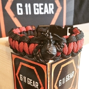 USMC - single duty EGA Scarlet Red/Black Paracord Bracelet
