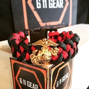 USMC - Gold EGA - Black/Red 550 Paracord Bracelet