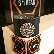Fire Dept - Silver Concho Leather Bracelet