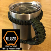 Black/OD Green Yeti /RTIC Tumbler Cup Paracord Handle