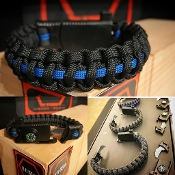 Thin Blue Line Knife, compass, firestarter and whistle Paracord