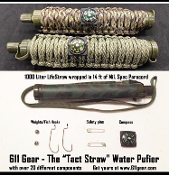 "Survival ""Life Straw - wrapped in Paracord with Fishing Kit"