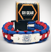 USCG - Emblem Red/Royal Blue w/white striped Paracord Bracelet