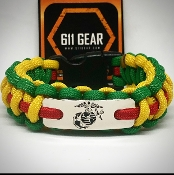 USMC Vietnam Veterans Yellow/Green with Red stripe Paracord