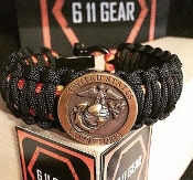 USMC - King Cobra (larger) Concho Overlay Paracord Bracelet