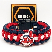 Cleveland Indians -Red/Navy Blue/White Stripe Paracord Bracelet