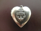 Locket - US Navy USN Anchor Naval CPO Charm DOUBLE Photo