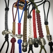 Pewter Helmet/Shields Micro-Cord Key Chain/Lanyard