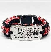 Ladies I Can Do All Things Through Christ Paracord Bracelet