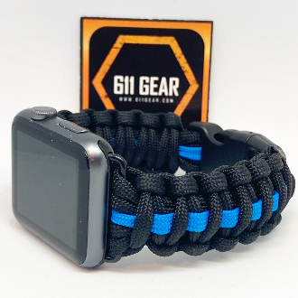 Apple Watch Thin Blue Line Custom Paracord Band