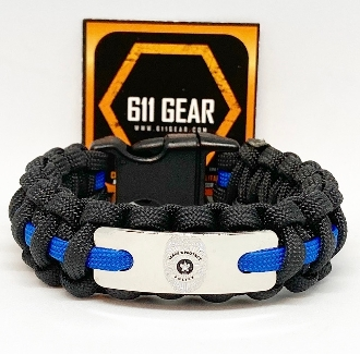 Police Dept.- Engraved Badge Thin Blue Line Paracord Bracelet