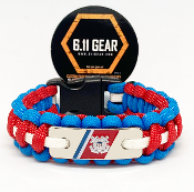 USCG - Marker Red/Royal Blue w/white striped Paracord Bracelet