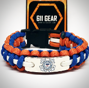 USCG - Emblem Royal Blue/Burnt w/white stripe Paracord Bracelet